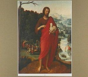 Johannes de Doper voor een landschap met links in de achtergrond de prediking van Johannes de Doper en rechts de doop van Christus