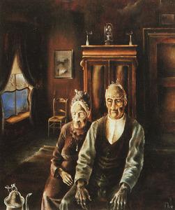 Portret van Hendericus Oldeboerrigter (1865-1947) en Johanna Geertruida de Vries (1870-1948)