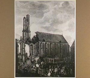 Het omver halen van de St. Michaelskerk te Zwolle op 30 december 1682
