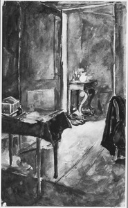 Interieur met tekenmap en tafel