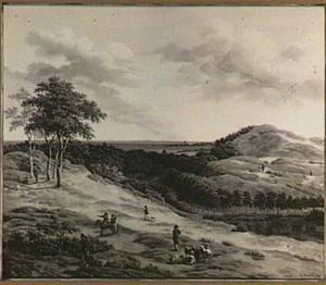 Heuvellandschap met jagers en herders