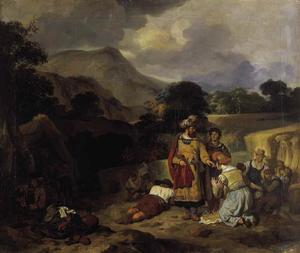 Boaz spreekt tot Ruth in het veld (Ruth 2:1-4)