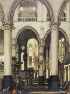 Interieur van een kerk met twee figuren in de voorgrond