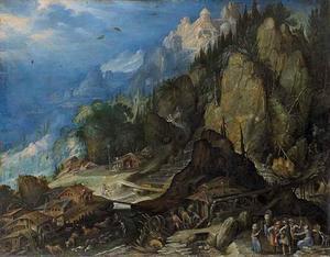 Berglandschap met twee watermolens