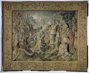 Alexander de Grote knielt voor de hogepriester Jaddus