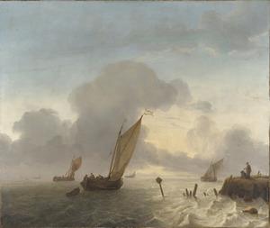 Zeilschepen voor de kust, rechts twee mensen op de waterkant
