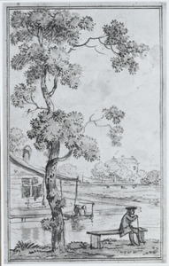 Ontwerp voor een behangsel met een wandelaar zittend op een bankje bij een rivier