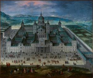 Zicht op het koninklijke klooster van San Lorenzo de El Escorial