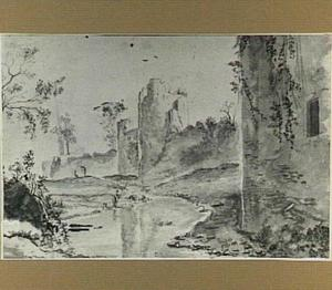 Landschap met Romeinse stadsmuur en een visser