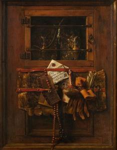 Trompe-l'oeil met een brief, kam en andere gebruiksvoorwerpen