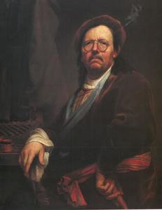 Zelfportrtet van Kupezky met schaakbord