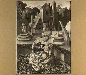 Maria en kind in een tuin