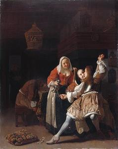 Soldaat die een jonge vrouw kust terwijl de waardin toekijkt