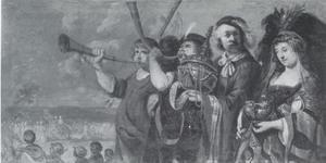 Arsake en haar gevolg brengen goud en juwelen naar de tempel van Isis in Memphis (Heliodorus: Aethiopica)