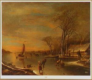Winterlandschap met schaatsers en een ijszeilboot op een bevroren rivier