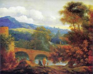 Italianiserend landschap met een stenen brug over een rivier