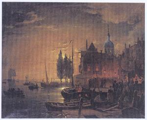 Avondfeest in de haven van Dordrecht