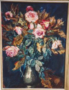 Rose rozen in tinnen kan