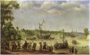 Inscheping van een militaire eenheid aan een rivieroever