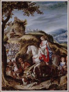 De H. Martha vertrapt de draak onder de hoeven van haar paard