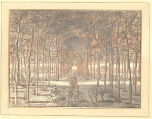 Kasteel Middachten bij De Steeg (Rheden), gezicht uit het bos door de Middachter Allée