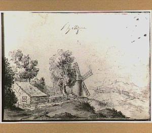 Duinlandschap met boerderij en molen in de omgeving van Hillegom