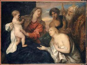 De madonna met het kind en de drie boetvaardige zondaars Maria Magdalena, koning David en de Verloren Zoon