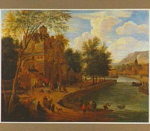 Landschap met stadspoort aan een rivier