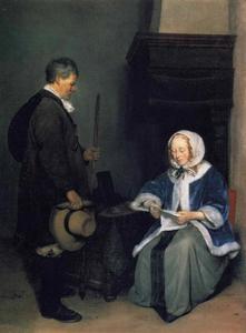 Brieflezende dame met een boodschapper, in een interieur