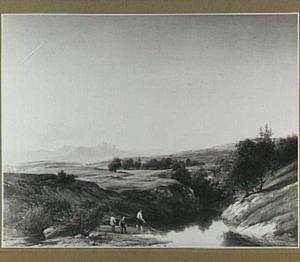 Heuvellandschap met vissers bij een rivier