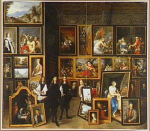 Portret van Leopold Wilhelm, aartshertog van Oostenrijk (1614-1662) in zijn Brusselse schilderijengalerij met de kunstenaar