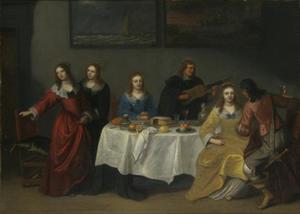 Gezelschap rondom een tafel