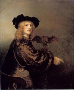 Portret van een man met havik