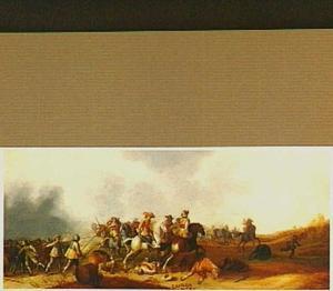 Gevecht met cavalerie en voetvolk in een glooiend landschap