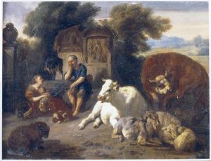 Zuidelijk landschap met rustende herdersfamilie bij een fontein