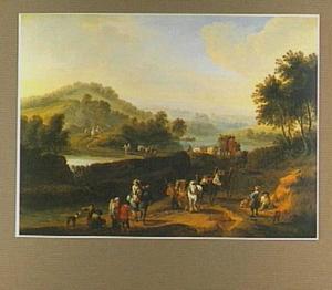Landschap met ruiters, reizigers en boeren op een weg langs een rivier