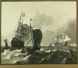Hollandse schepen voor de kust; rechts op de achtergrond een duinenrij