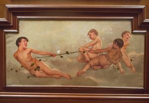 Jongetjes aan het touwtrekken met klimopranken