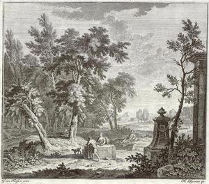 Arcadisch landschap met herders bij een graftombe