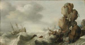 Schipbreuk op een rotsachtige kust