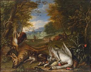 Jachthonden naast jachtbuit, waaronder een ree en een zwaan,  in een landschap