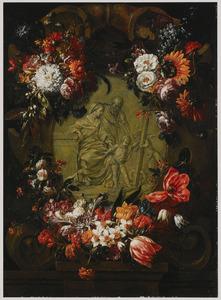Bloemschikking rond een cartouche met een voorstelling van de H. Familie met Johannes de Doper