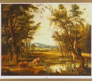 Landschap met Nebukadnessar in zijn waanzin tussen de wilde dieren (Daniël 4:16-33)