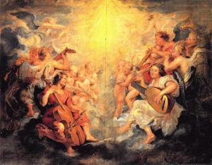 Musicerende engelen in de hemel