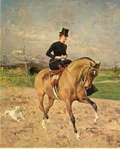 Portret van Alice Regnault in amazonezit  te paard