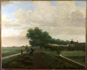 Landschap met een landweg in de Watergraafsmeer, met mogelijk huis Reigersburg op de achtergrond