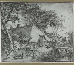 Landschap met boerderij, duiventil en spelende kinderen