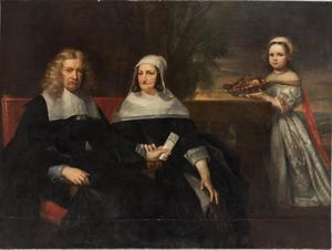 Familieportret van een echtpaar en hun (overleden?) dochter
