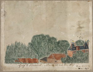 Gezicht in Koudekerk aan den Rijn met kasteel Klein Poelgeest op de achtergrond