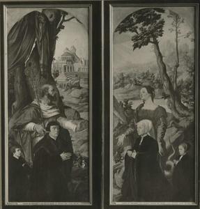 Stichter met zijn zoon en een heilige abt; stichtster (Margarethe Pastor?) met haar dochter en de H. Margaretha